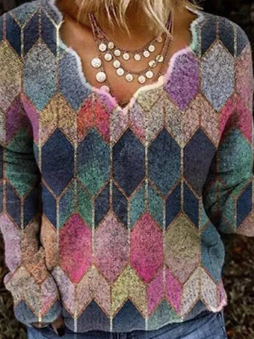 Zwina - Boho Chic Sweater - Beautiful Geometric Print Sweater