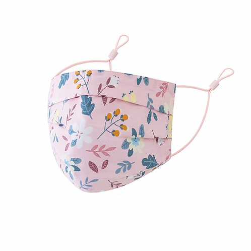 Pink Floral Cotton Face Mask - Adjustable Face Covering