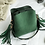 Thumbnail: Bavaria Forest Green Small Bucket bag with Tassels - Boho Style Bag