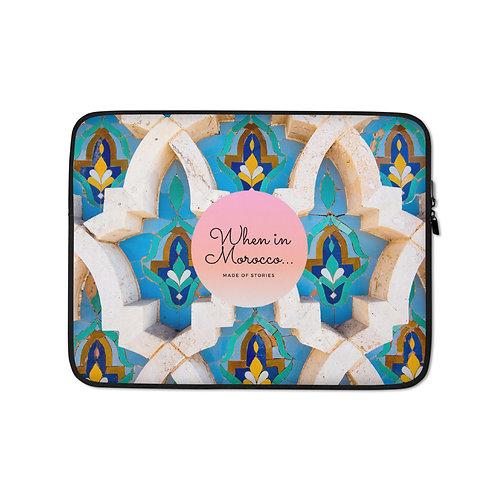 Casablanca - boho laptop case, colourful snug fit laptop cover faux fur lining