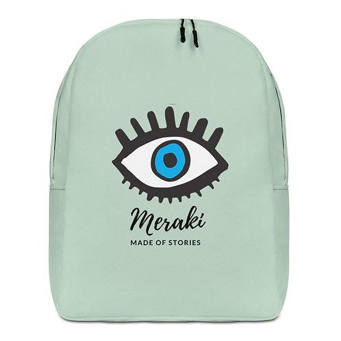 Meraki Blue eye Backpack with Greek word Meraki - Statement Bag for her