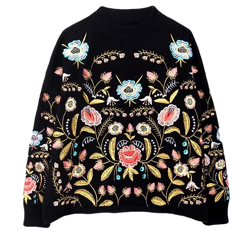 Floral Embroidered Woman's Sweater - Female Jumper