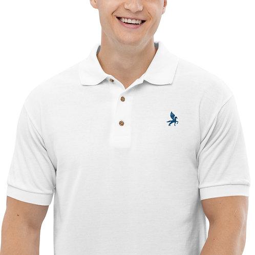 Pegasus - Embroidered White, Grey Cotton Polo Shirt - Classic Polo for Men