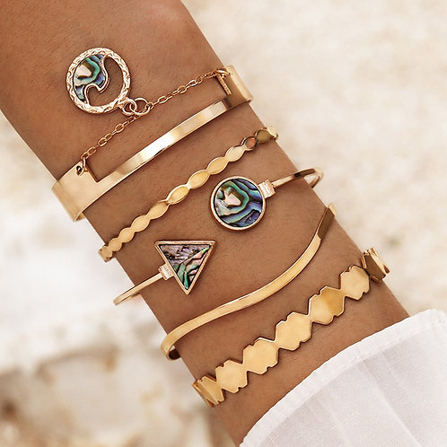 Medina -  Boho Bracelets - Cuff Bangles (5pcs/Set)