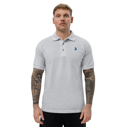 Pegasus - Embroidered White, Grey Cotton Polo Shirt - Classic Polo for Men