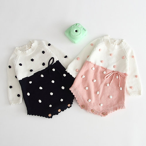 Winter Baby Girl Onesie with Long Sleeves and Ball Rompers -Newborn Clothing