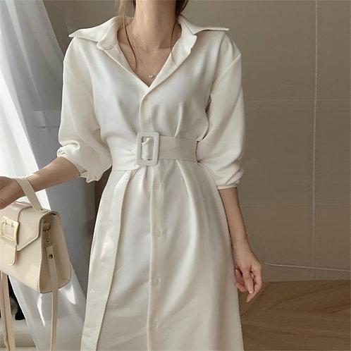 Conservadora - Midi Shirt Dress with Belt