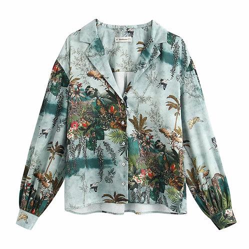 Majorelle - Women's satin shirt
