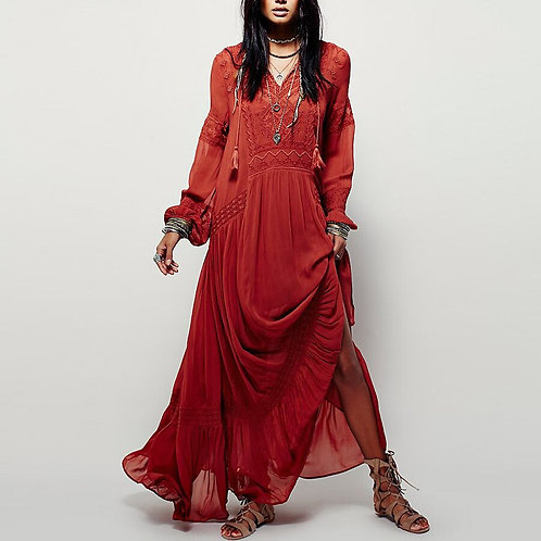 Atlas - Boho Maxi Dress with Long Sleeves and Tassels
