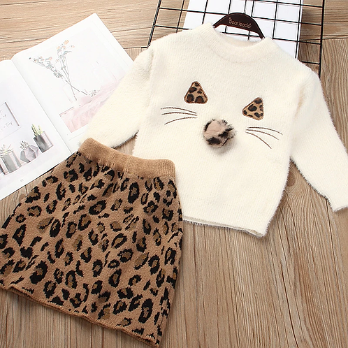 Leopard Kitty - Baby Girls Clothes Knitted Outfit Sweet Clothing Set Gift ideas