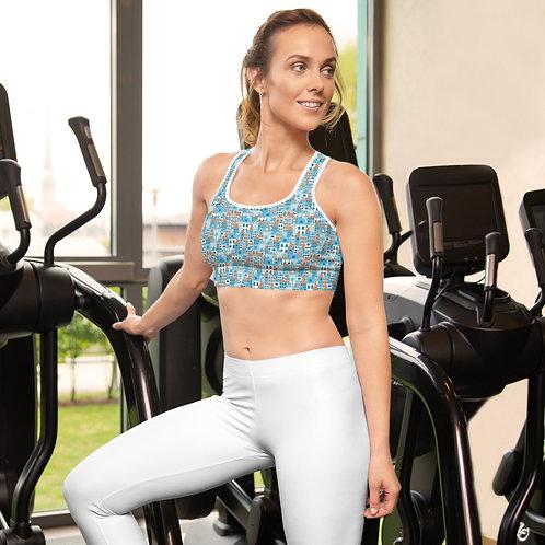 Creta - Padded Sports Bra for women - gym clothing with Greek Islands design