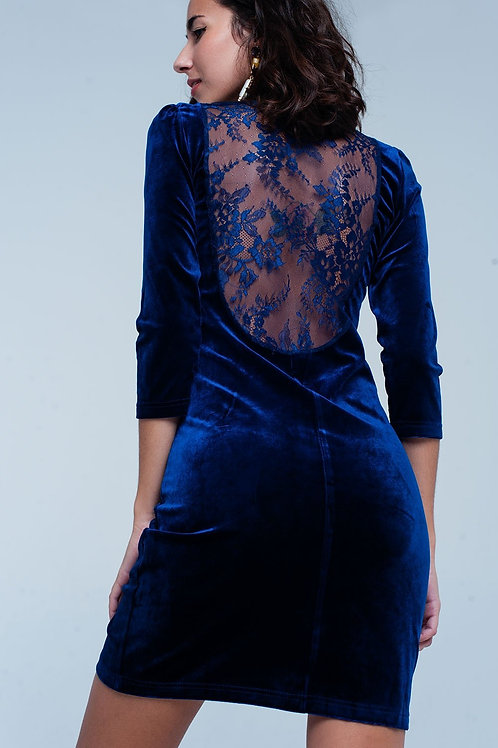 Blue Velvet Mini Dress with Lace Back