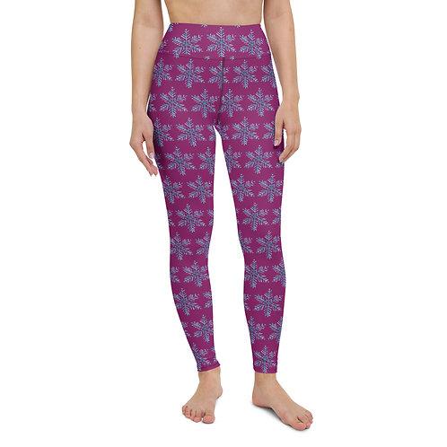 Snowflake Designer Purple Women's Yoga High-Rise Leggings