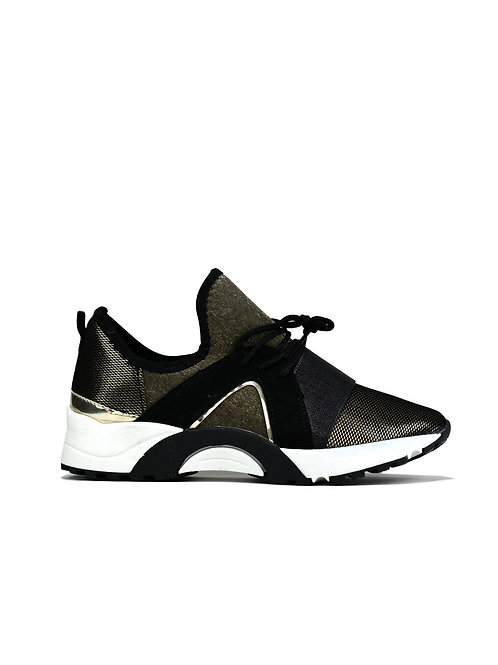 Women's Black Trainer with gold details