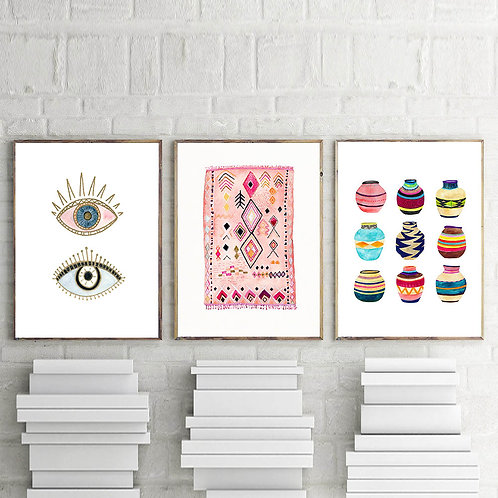 Moroccan Art Painting - Boho Wall Art - Canvas Poster