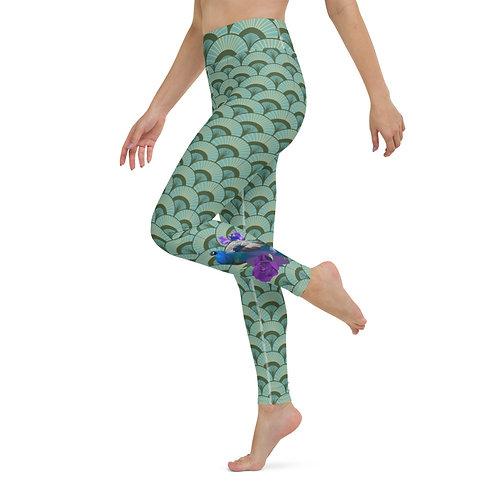 Passaro Roxo Leggings - Designer Colourful High-Waisted Gym Leggings for Women