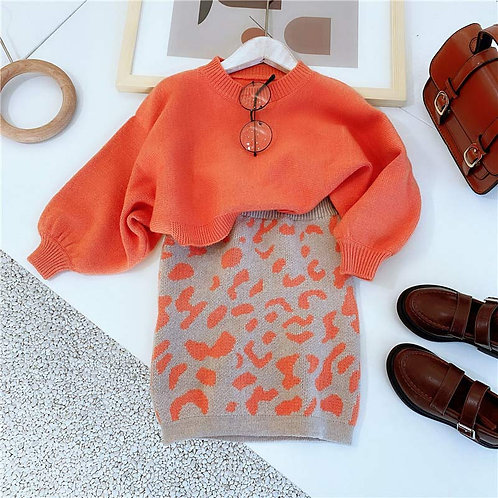 Smart orange - Baby Girls Clothes Knitted Outfit Sweet Clothing Set Gift ideas