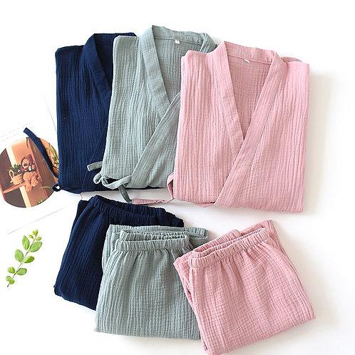 Bali - Mens & Womens Kimono Pajamas - Unisex Cotton PJ Set