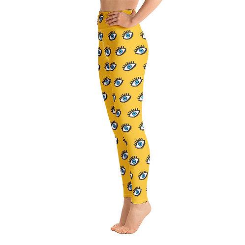 Leto - Yellow Funky Designer High Waisted Gym Leggings for Women Sports Pants