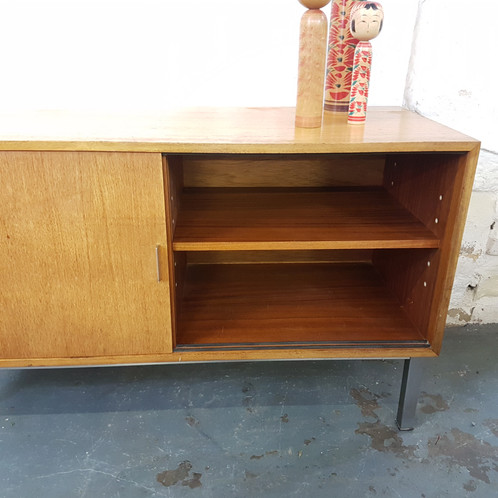 1960 S Wood And Steel Office Cabinet With Drawers