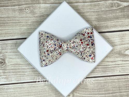 White Multi Glitter Pet Collar Bowtie