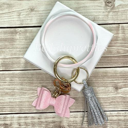 White Blush Bracelet Keychain