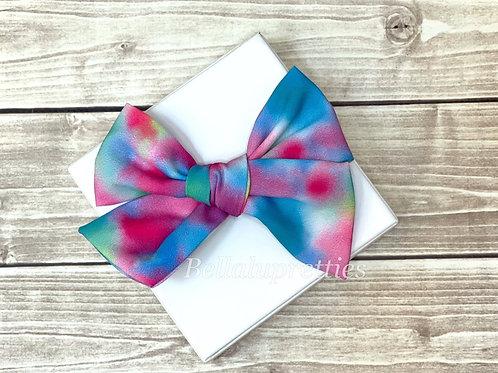 "Watercolor Rainbow 5"" Pretty Bow"