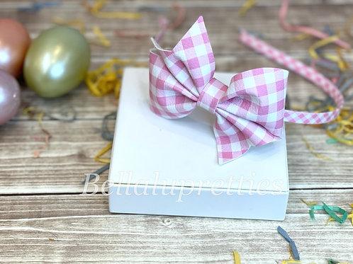 Pink Gingham Larkin Bow Headband