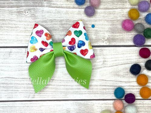 Rainbow Heart Sailor Bow
