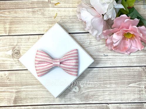 Pink Stripe Pet Collar Bowtie