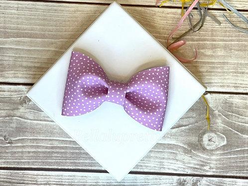 Lavender Purple Dot Pet Collar Bowtie