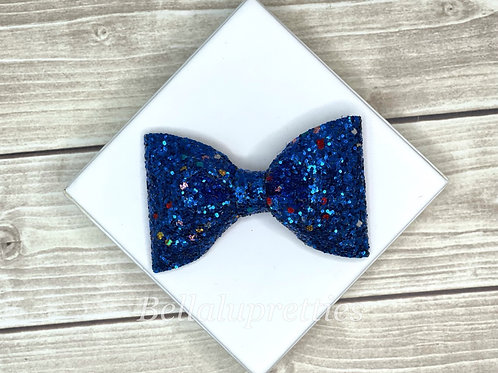 Blue Multi Glitter Pet Collar Bowtie