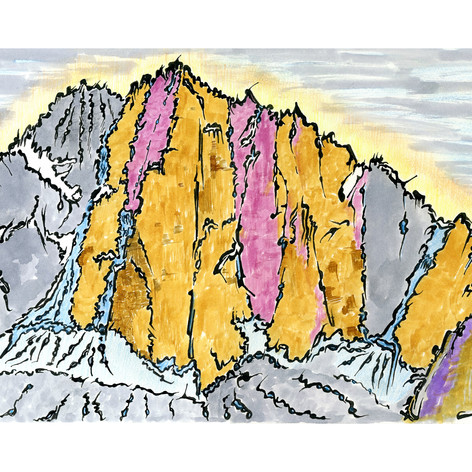 South Face Kizil Asker - Plein Air Ink + Colored Pencil