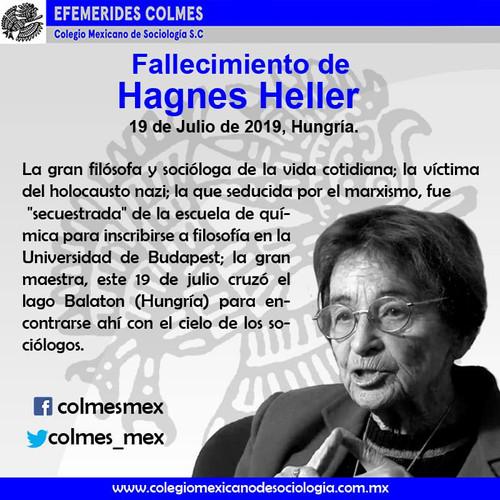Fallecimiento de Hagnes Heller 19 de Julio