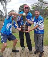 Mark Sim, Greg Taylor, Barry Parker, Winners of the Jim Scott Memorial Trophy 2018