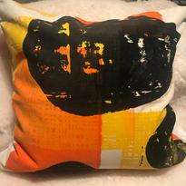 Handtryckt kudde på bommullssammet, baksida