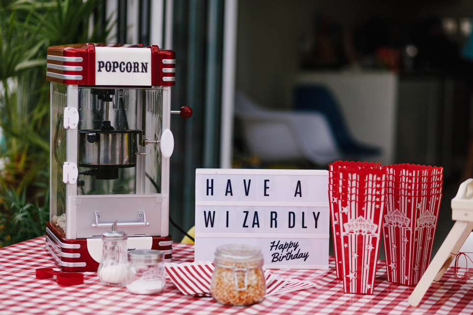 Our retro popcorn machine & holders, set up comes with a table cloth
