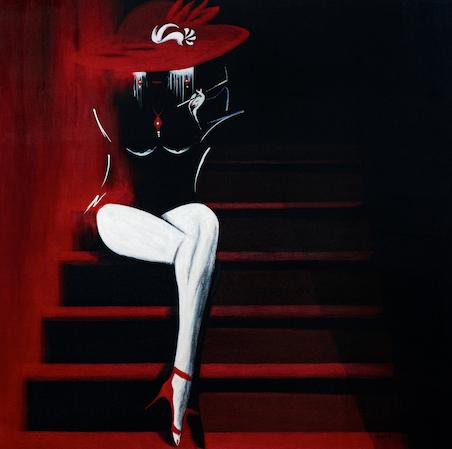 Anaïs (80x80 cm) exposée Galerie Antares à Toulouse - disponible au 1/01/2021