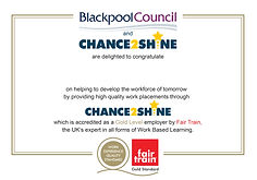 Chance to Shine certificate for newslett