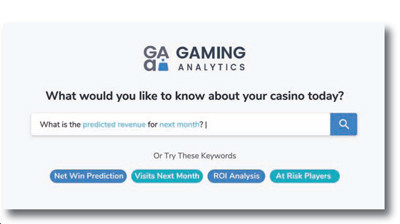 Screenshot of Gaming Analytics search and keywords