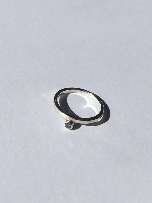 Tiny PINKY ring / SILVER / CUBIC CIRCONIA