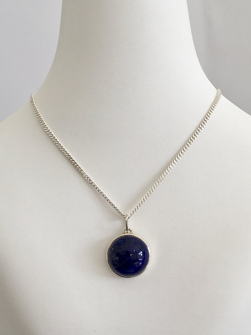 THE L NECKLACE / SILVER / LAPIS