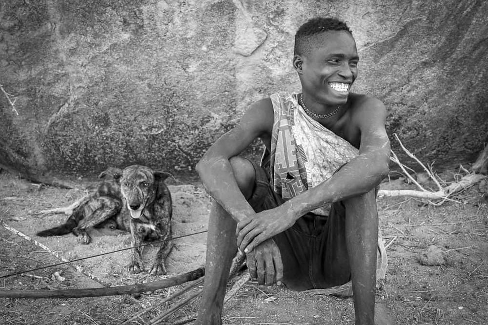 Hadzabe Bushman and his dog
