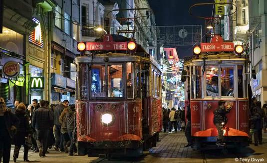 Trolly cars in Taksim Square in Istanbul, Turkey.