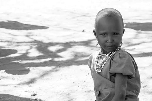 Young maasai girl in B&W