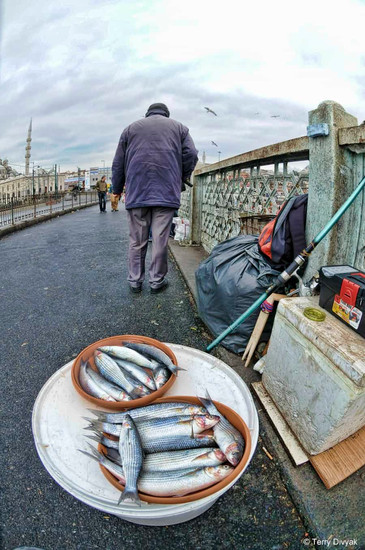 Fisherman on the Galatta Bridge in Istanbul, Turkey.