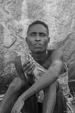 Hadzabe Hunter portrait in B&W