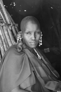 Portrait of a Maasai Woman B&W