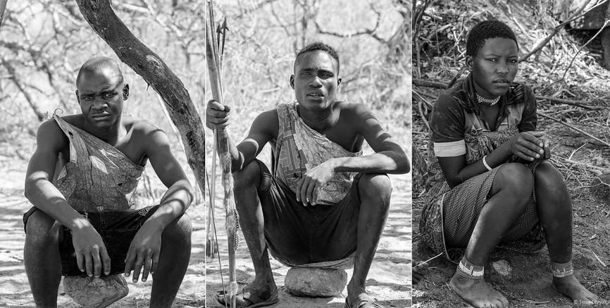 Portraits of Hadzbe near lake Eyasi in Tanzanina in B&W