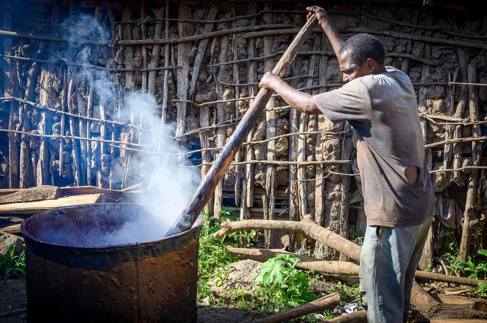 Brewmaster making Banana Beer in Mto wa Mbu in Tanzania